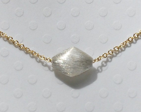 Silver and gold diamond necklace