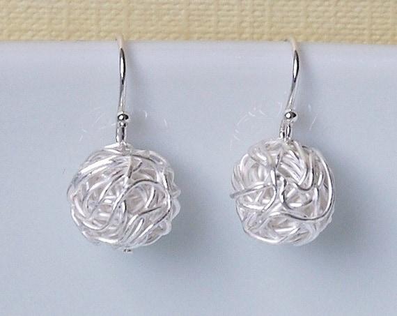 Tangled ball earrings, sterling silver wire yarn balls, knitter gift, drop earrings, simple earrings, modern jewelry, silver earrings