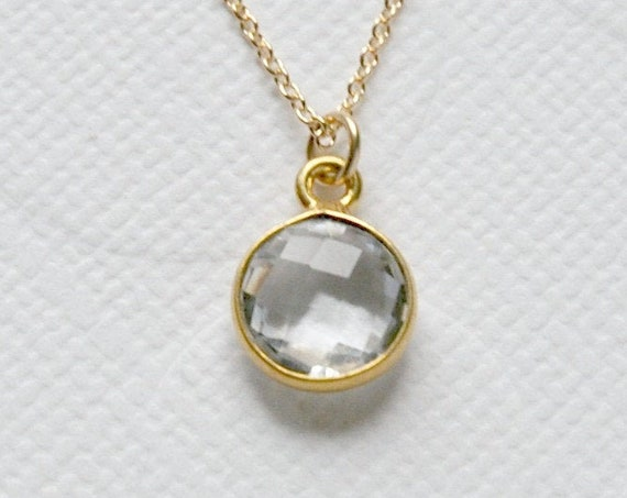 Gold and crystal quartz necklace, clear crystal necklace, sexy necklace, gold rim stone, round gemstone, simple gold necklace
