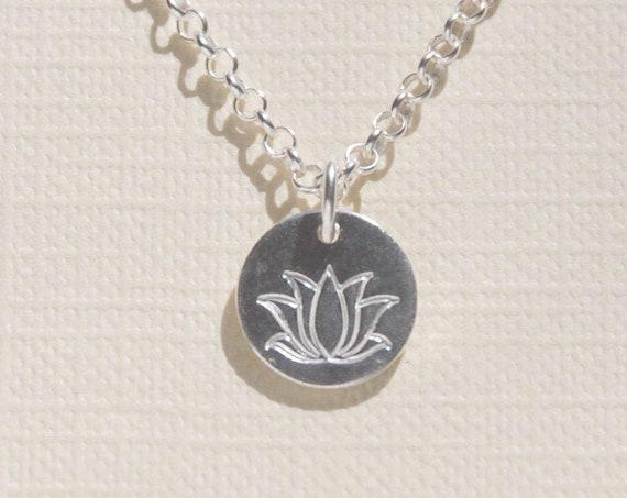 Silver lotus necklace, sterling silver lotus pendant, gift for women, silver flower necklace, satya charm, yoga necklace, simple jewelry