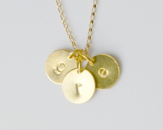 Personalized gold disk necklace, 1 - 2 - 3 - 4 tags, gold initial necklace, letter charm, stamped disc, dainty gold tag, engagement gift