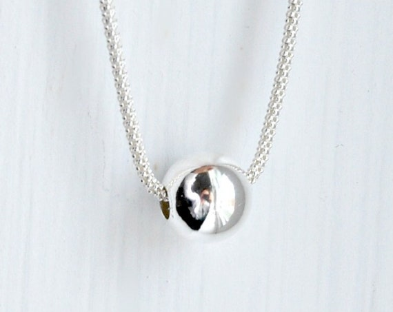 Sterling silver ball necklace, thick chain, gift for her, modern necklace, simple necklace, elegant jewelry, korean chain