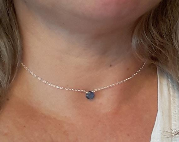 Blue gemstone necklace, kyanite gem teardrop, sterling silver chain, September birthday, healing stone, simple necklace, womens gift