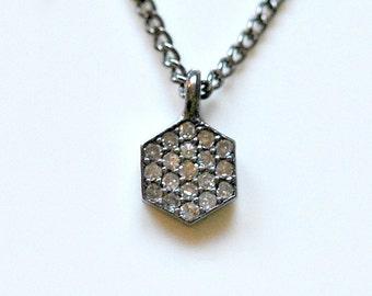 Diamond necklace, genuine diamond, tiny, pave, hexagon pendant, choose your chain, oxidized sterling silver, gemstone jewelry - Mathilde