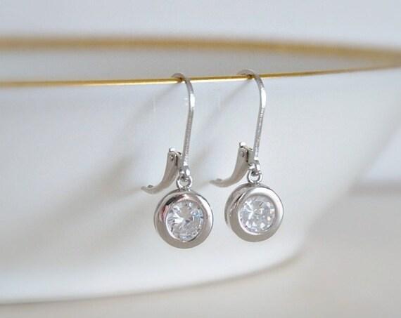 Crystal drop earrings, sterling silver earrings, gold earrings, rose gold earrings, round diamond earrings, cz dangle, leverback earwires