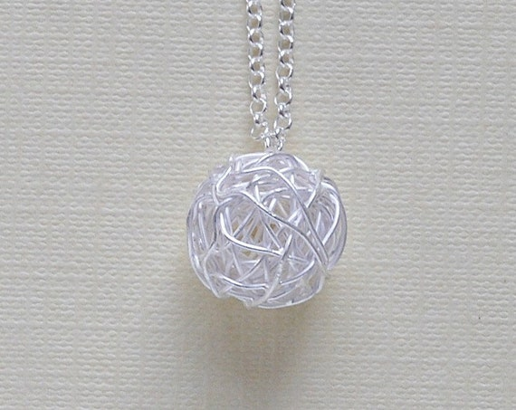 Tangled ball necklace, sterling silver wire wrapped yarn ball pendant, knitting ball, long layering necklace, modern jewelry, birthday gift
