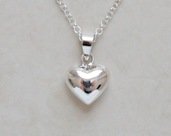 Silver heart necklace, sterling silver heart pendant, anniversary gift, puffy heart charm, small heart, classic jewelry, gift for her