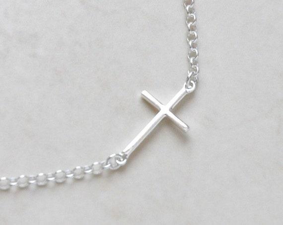 Silver sideways cross necklace, 925 sterling silver side cross, layering necklace, modern cross jewelry, trendy necklace