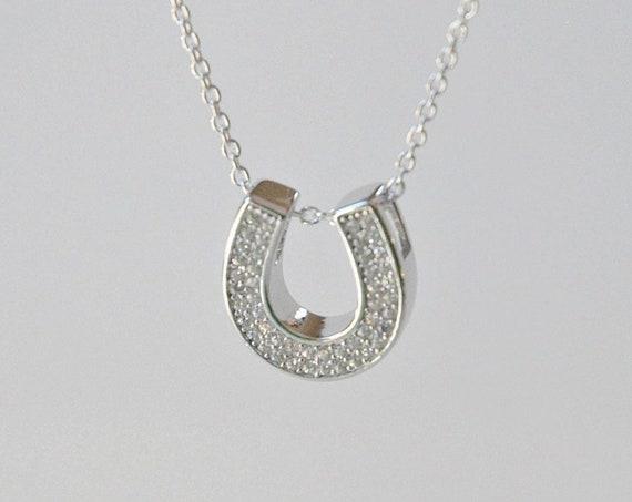 Horseshoe necklace, sterling silver horseshoe, diamond horseshoe, cz horseshoe, lucky charm, equestrian gift, celebrity necklace