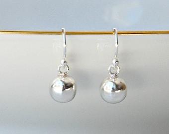Ball earrings, sterling silver ball earrings, gold ball earrings, rose gold ball earrings, 8mm ball, dangle earrings