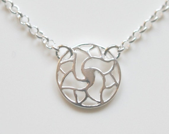 Sterling silver sun necklace, silver star, silver flower pendant, round silver pendant, little girl gift, simple, modern, minimalist jewelry