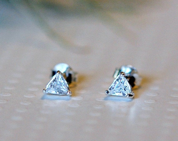 Triangle cubic zirconia stud earrings