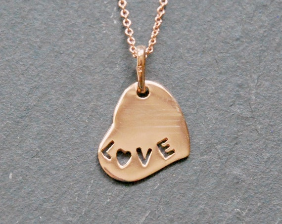Rose gold heart necklace, anniversary gift for women, LOVE necklace, sweet heart, pink heart charm, love pendant, romantic gift for her