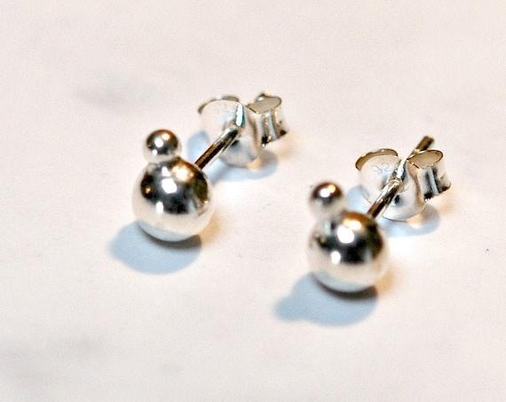 Silver ball earrings, sterling silver earrings, 5mm ball stud earring, everyday earrings, simple classic jewelry, littleglamour gift for her