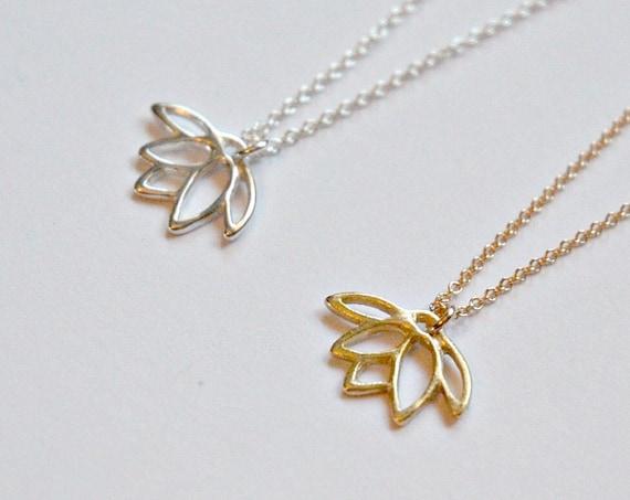 Lotus necklace, sterling silver lotus, bridesmaid gift, gold lotus pendant, lotus flower charm, lotus jewelry, yoga necklace
