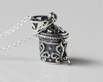 Sterling Silver /& Aura Quartz techno mushroom pendant.