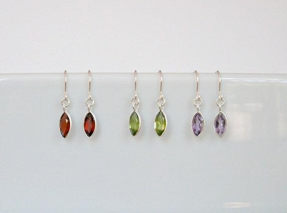 Gemstone earrings, amethyst earrings, garnet earrings, peridot earrings, moonstone, labradorite, black onyx, blue topaz, sterling silver