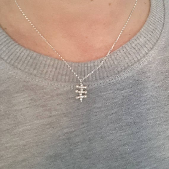 Sterling silver geometric necklace, ladder necklace, modern minimal, simple jewelry, gift for women