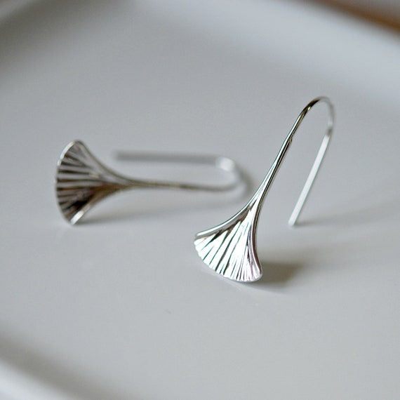 Sterling silver gingko leaf earrings