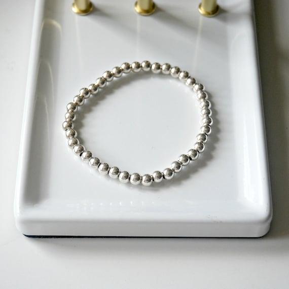 Sterling silver ball bracelet, 4mm balls, sterling silver stretch bracelet, stacking bracelet, womens gift, charm bracelet