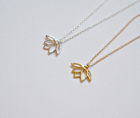 40% OFF SALE Lotus necklace in gold or silver