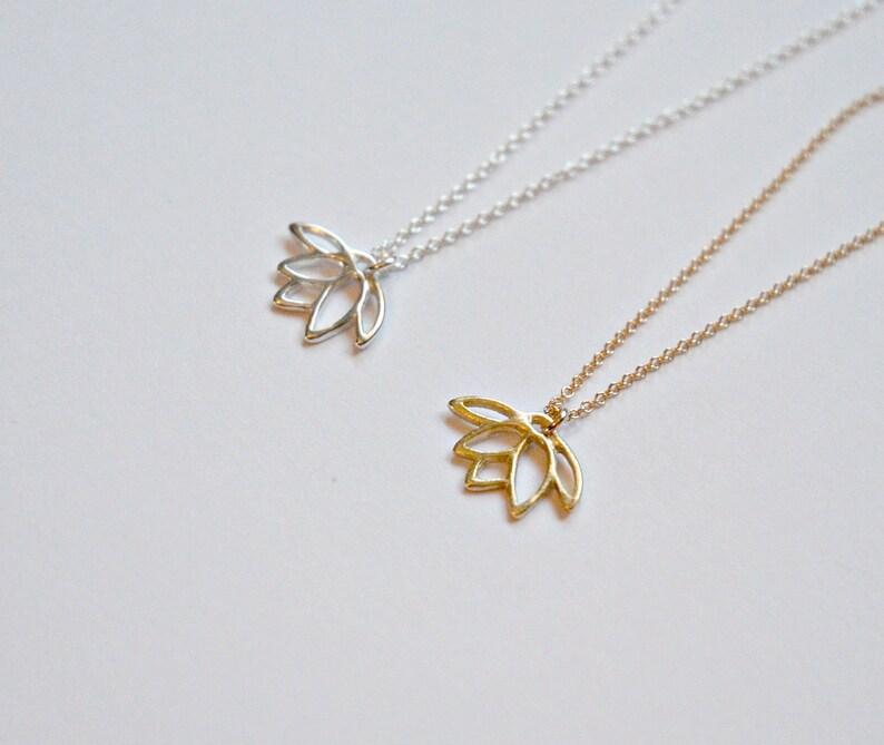 531c611da375b0 Lotus necklace bridesmaid gift gold lotus pendant sterling | Etsy