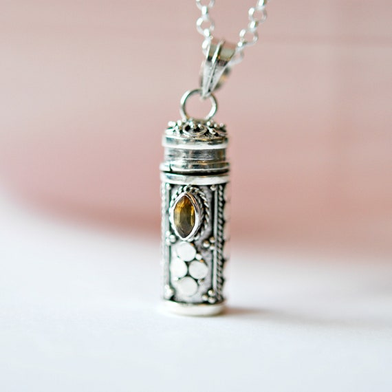 Sterling silver and citrine stash pendant necklace