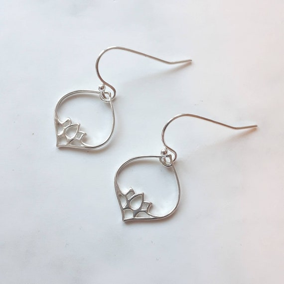 Sterling silver lotus teardrop earrings