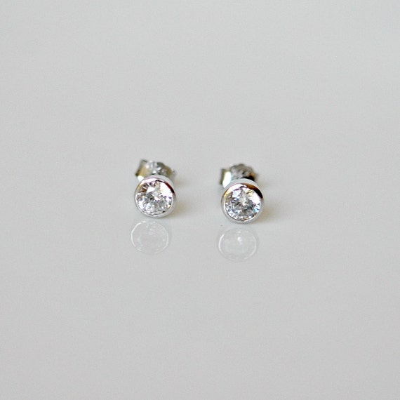 Cubic zirconia stud earrings - sterling silver