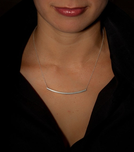 Sterling silver long curved bar necklace