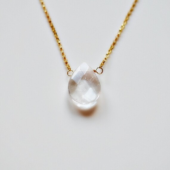 Gemstone teardrop necklace
