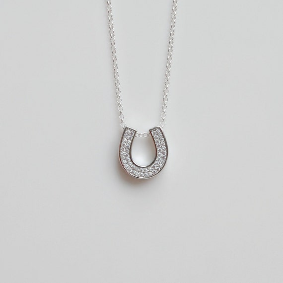 Sterling silver and cubic zirconia horseshoe necklace