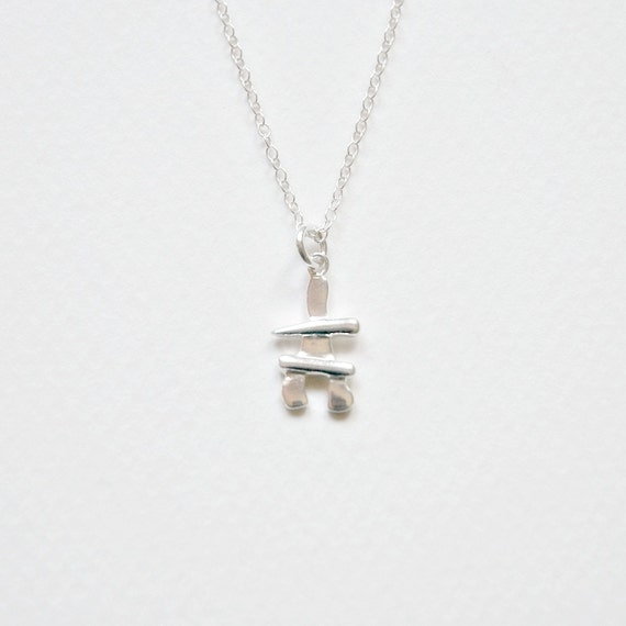Sterling silver inukshuk necklace