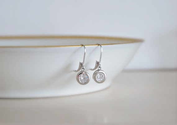 Cubic zirconia drop earrings - silver, gold or rose gold