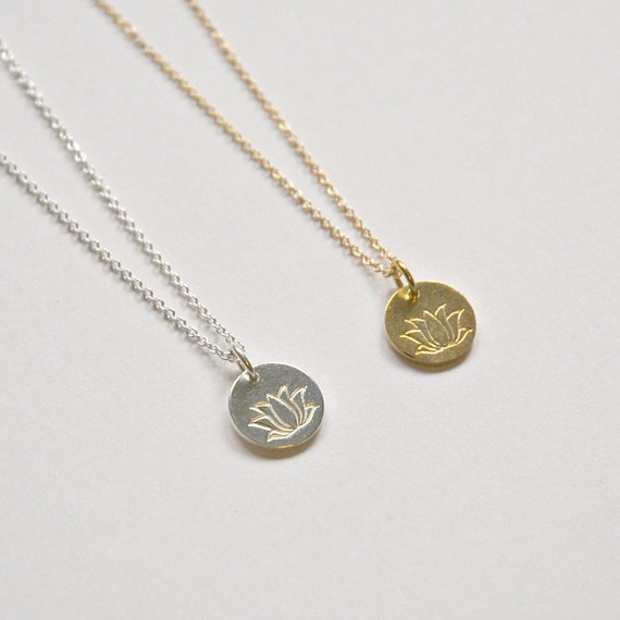 Lotus necklace in gold or silver