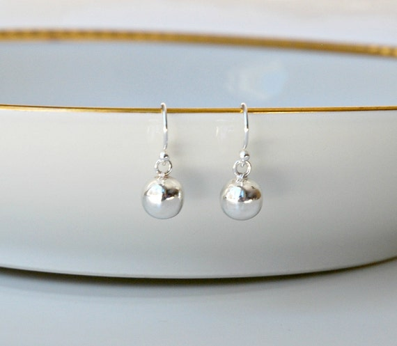 Ball drop earrings in sterling silver, gold or rose gold