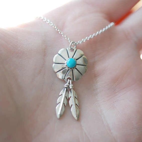 Silver concho necklace, turquoise necklace, natural stone, sterling silver dreamcatcher necklace, southwestern jewelry, feather necklace