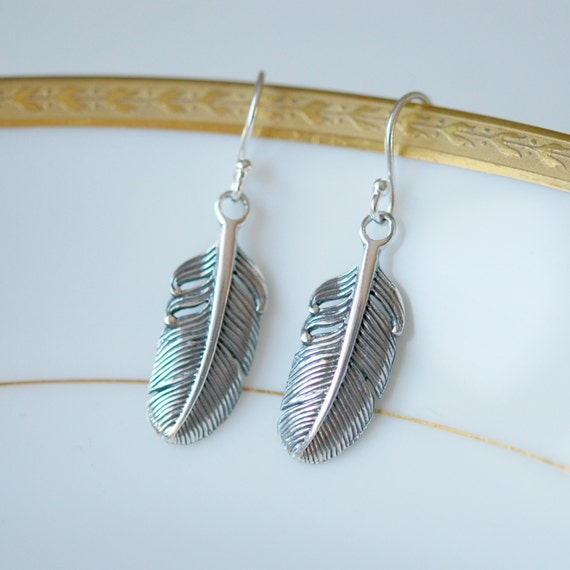 Feather earrings, 925 sterling silver feather dangle earrings, bohemian earrings, simple feather, mens earrings, feather jewelry