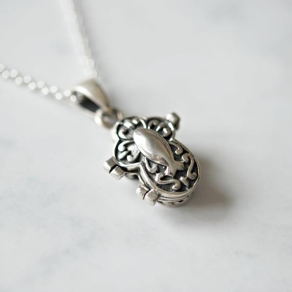 Silver cross necklace, sterling silver cross locket, silver locket, stash pendant, pill box, christian jewelry, snuff box, religious jewelry