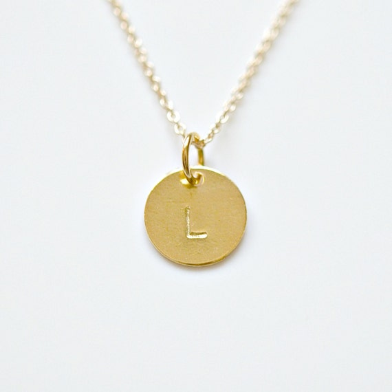 Personalized gold disk necklace