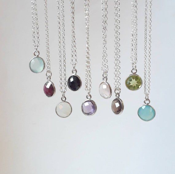 Gemstone necklace, garnet, amethyst, moonstone, rose quartz, aqua chalcedony, black onyx, blue chalcedony, birthstone, sterling silver chain