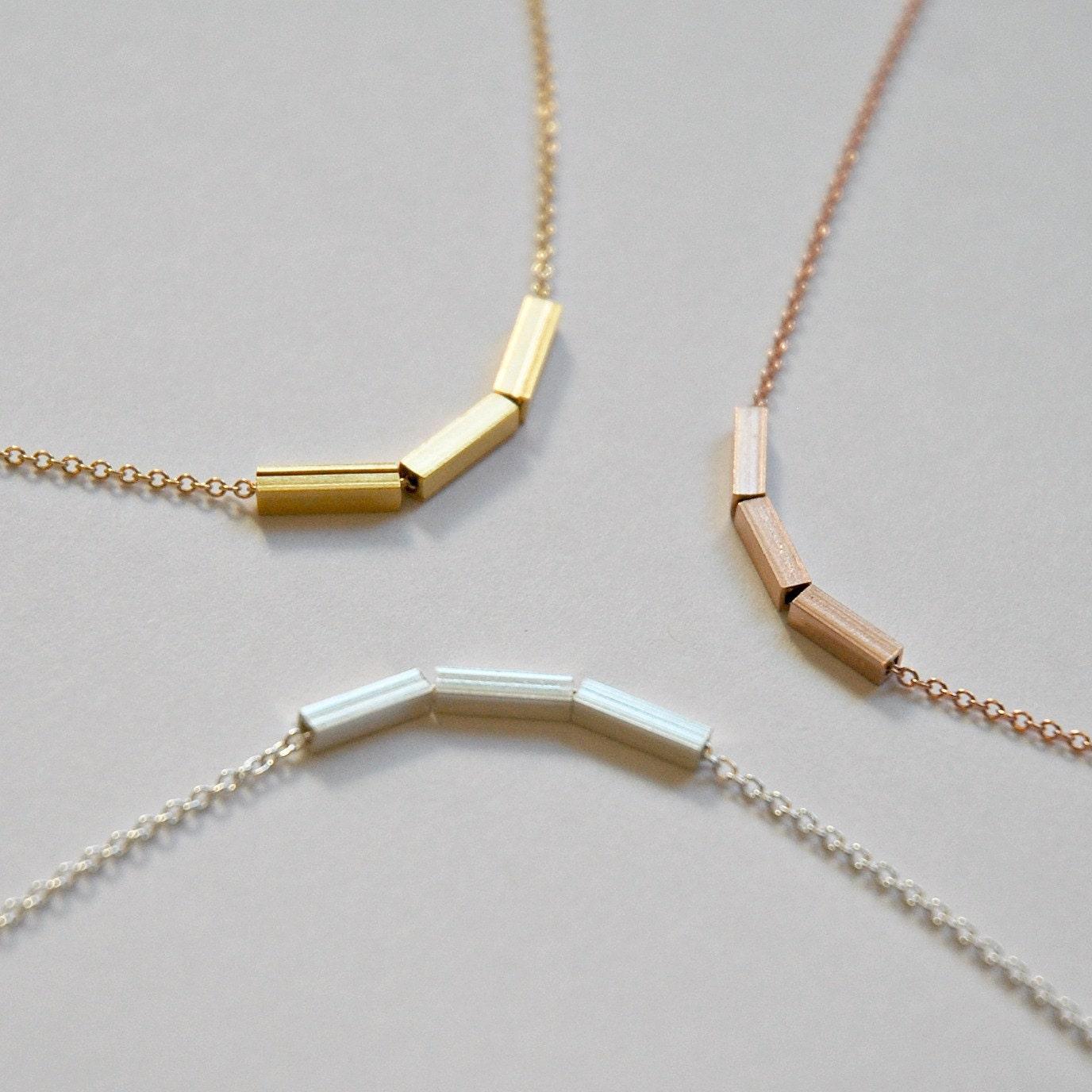 Nexus 20 Triple Bar Pendant: Triple Bar Necklace Three Sterling Silver Bar Gold Bar