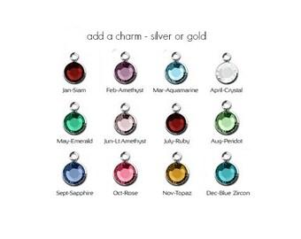 Add silver or gold birthstone charm, Swarovski birthstone, 6mm, add-on charm, personalize, custom, birthday, crystal birthstone dangle