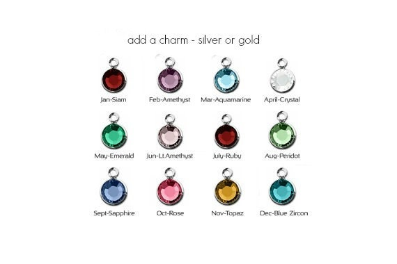 Add-on silver or gold Swarovski birthstone charm