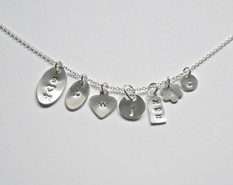 Add a personalized sterling silver tag, add-on item for littleglamour necklaces or bracelets, handstamped tag, initial charm, letter charm