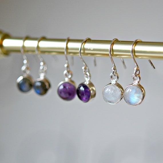 Gemstone earrings in labradorite, amethyst or moonstone