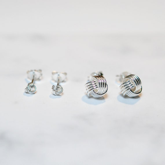 Sterling silver love knot studs - large or small