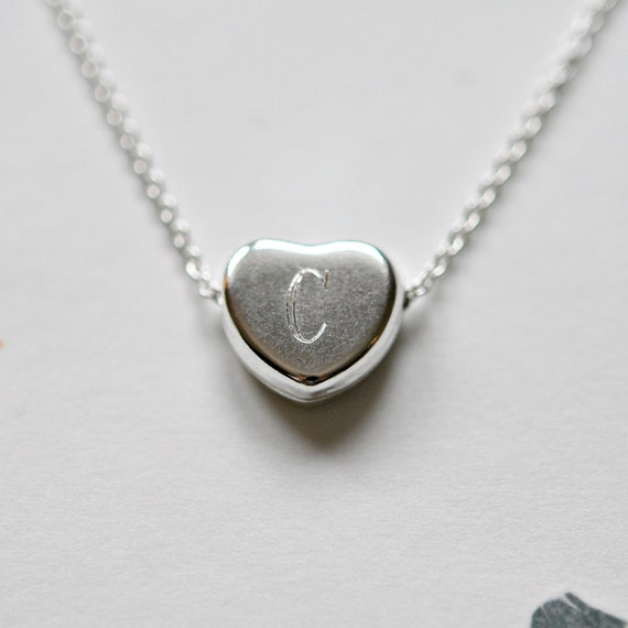 Engraved sterling silver heart necklace
