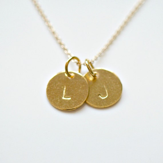 Personalized gold disk necklace 1 - 2 - 3 - 4 tags