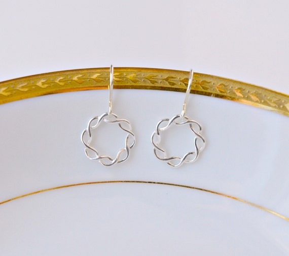 Sterling silver braided hoop earrings